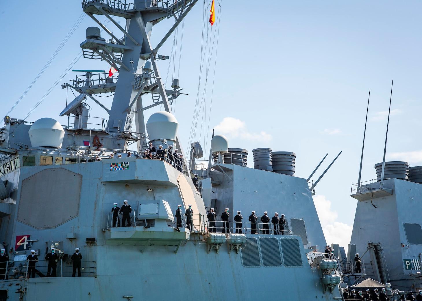 The Arleigh Burke-class guided-missile destroyer, USS Arleigh Burke (DDG 51), arrives at Naval Station (NAVSTA) Rota, Apr. 11, 2021.