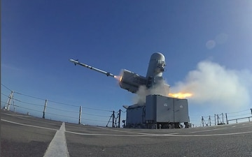 The Independence-variant littoral combat ship USS Charleston (LCS 18) launches a RIM-116 Rolling Airframe Missile (RAM).