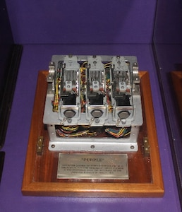 This is the largest of three surviving pieces of the Japanese diplomatic ciphering machine the U.S. Army Signal Intelligence Service named PURPLE. NCM featured this one-of-a-kind artifact that was recovered from the wreckage of the Japanese Embassy in Berlin in 1945 during a recent Artifact Spotlight