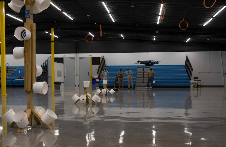 Members of the 1st Special Operations Civil Engineer Squadron learn how to fly an unmanned aircraft system at the FieldWerx Makerspace in Fort Walton Beach, Florida, April 6, 2021.