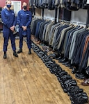 Two Honor Guard members donated dozens of gently used dress shoes to a local menswear clothing closet.