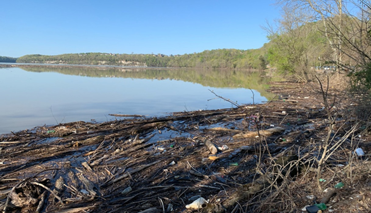 The U.S. Army Corps of Engineers Nashville District invites the public to participate in Operation Beautification around the entire Lake Cumberland Saturday, April 24, 2021. This is debris and trash on the shoreline of Waitsboro Recreation Area April 12, 2021 in Somerset, Kentucky. (USACE photo by Cody Hensley)
