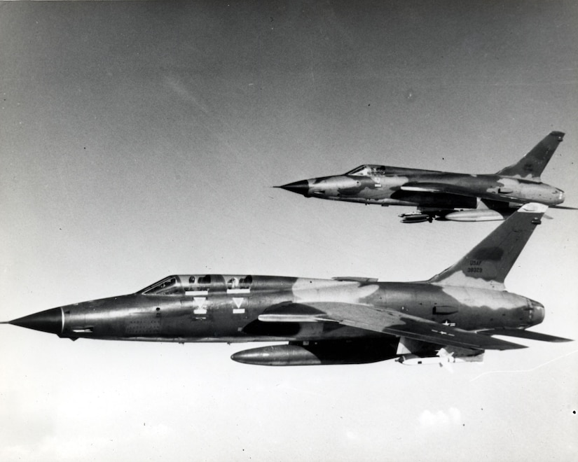 The elements of a hunter-killer team: F-105F Wild Weasel with Shrikes and F-105D with bombs. (U.S. Air Force photo)