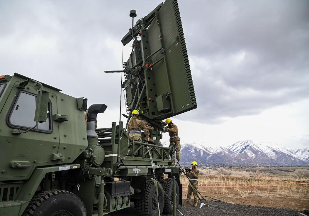 Airmen setting up a mobile radar unit at Hill AFB, Utah