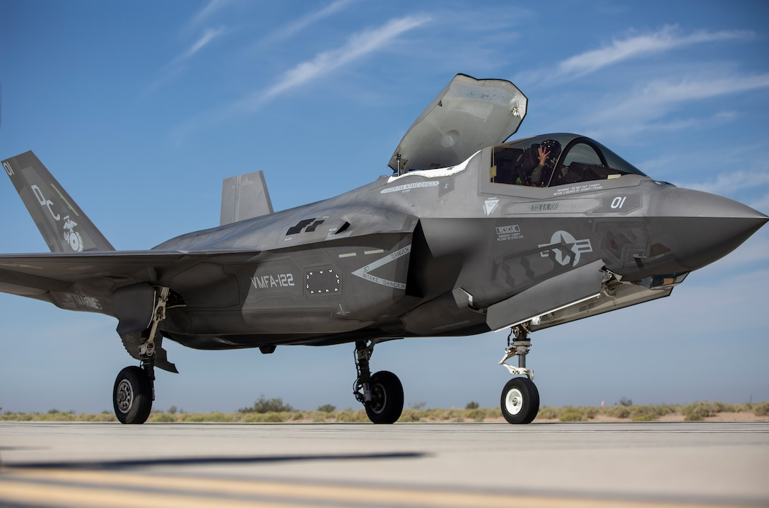 An F-35B Lightning II with Marine Fighter Attack Squadron (VMFA) 122, Marine Aircraft Group 13, 3rd Marine Aircraft Wing (MAW), conducts expeditionary advanced base operations (EABO) support and short take-off and vertical landings on simulated narrow roads at Marine Corps Air Station Yuma, Arizona, April 6, 2021. VMFA-122 continues to refine EABO tactics to increase 3rd MAWs operation reach and ability to deliver long range precision fires in preparation for future conflicts. (U.S. Marine Corps photo by Lance Cpl. Lance Cpl. Juan Anaya)