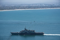 Littoral combat ship USS Freedom (LCS 1) returns to Naval Base San Diego from her final deployment, April 12.