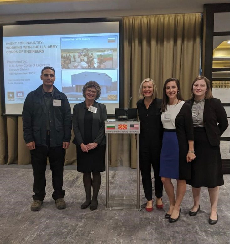 Attorney Leslie Reed, second from the left, and other teammates from the U.S. Army Corps of Engineers, Europe District pose at a contractor outreach event on November 6, 2019 in Bulgaria geared toward educating contractors about working with the U.S. Army Corps of Engineers. Reed said the increased engagement with the contracting community is one of the things she finds enjoyable about working as an attorney overseas with the Europe District. (Courtesy Photo)
