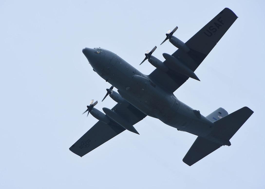 C-130 flies over stadium