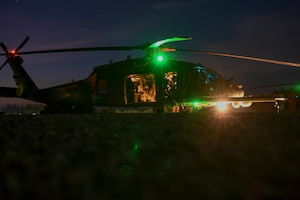 A U.S. Air Force HH-60G Pave Hawk sits on a landing pad prior to an exercise at Camp Simba, Kenya, March 24, 2021.