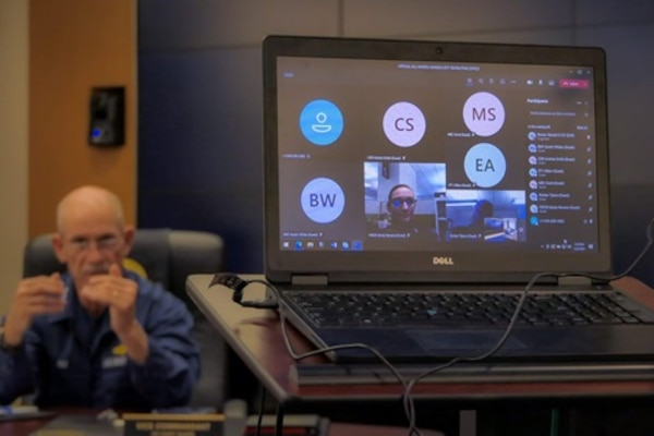 Vice Adm. Charles Ray supports FORCECOM's modernized ready learning initiative by attending a meeting through Microsoft Teams in January 2021.