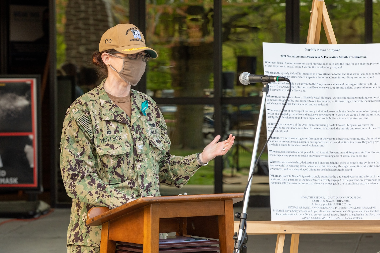 Norfolk Naval Shipyard's (NNSY) Commander Capt. Dianna Wolfson speaks during the Sexual Assault Awareness and Prevention (SAAPM) kickoff April 9.