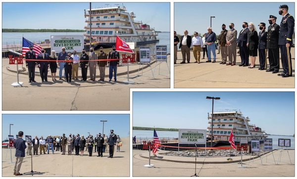 IN THE PHOTOS, the Memphis District held a ribbon-cutting ceremony, to celebrate a fully functioning stormwater ditch replacement project in the New, Madrid, Missouri area, on Apr. 12, 2021. A $3.4 million contract was awarded for two work areas to Tarpan Construction LLC., on Aug. 29, 2019. (USACE photos by Vance Harris)