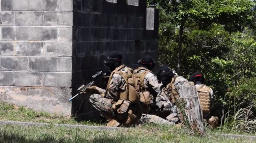 A video screen grab of Marines during tactical training.