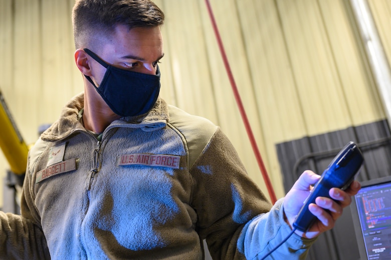 Airman 1st Class Dylan Baggett, 341st Operational Medical Readiness Squadron bioenvironmental engineer apprentice, assesses the airflow of a vent April 5, 2021, at Malmstrom Air Force Base, Mont.