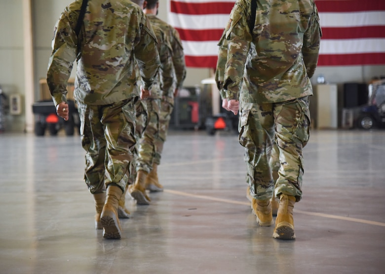 U.S. Air Force Airmen march during a drill competition.