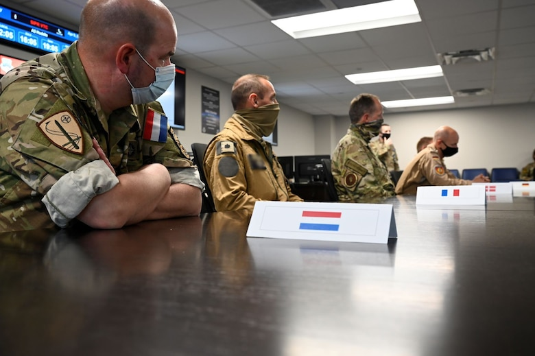 "Coalition leaders from multiple countries gather for a conference at Shaw Air Force Base, South Carolina, April 9, 2021. Senior military representatives from nine countries traveled to Shaw AFB this week to participate in ""Coalition Week,"" a series of events focused on showcasing 9th Air Force's (U.S. Air Forces Central) ability to distribute operations and command and control airpower from more than one location. (U.S. Air Force photo by Tech. Sgt. E'Lysia Wray/Released)"