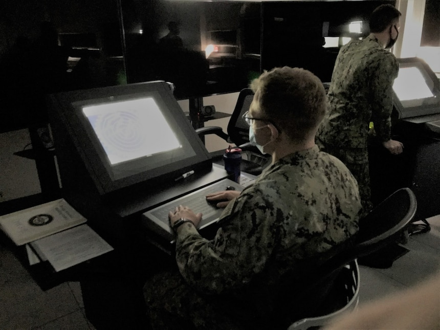 A student in the Pilot convening of the Officer of the Deck Phase II course works at the Automatic Radar Plotting Aid station in a Ship Simulator at Surface Warfare Schools Command. OOD-II will be introduced to the fleet concentration areas in October, 2021, and will be taught at SWSC's Mariner Skills Training Command Pacific (MSTCPAC) in San Diego, Calif., and Mariner Skills Training Command Atlantic (MSTCLANT) in Norfolk, Va.