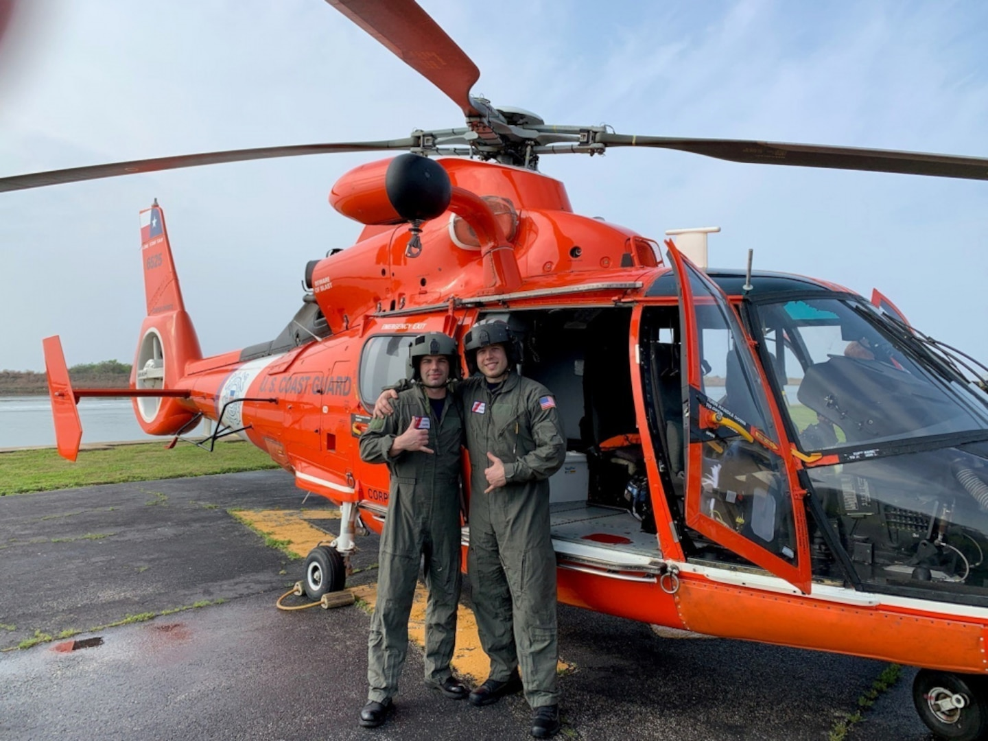 Second Class Petty Officers Casey Zachry, left, and Cody Childress, both health services technicians, prepare to depart from Coast Guard Station Port O'Connor, Texas March 24, 2021. Earlier that day, Zachry and Childress administered Covid-19 vaccinations to Coast Guard members at the station. U.S. Coast Guard photo.