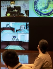 WASHINGTON (Apr. 13, 2021) - Chief of Naval Operations (CNO) Adm. Mike Gilday speaks with Japan Chief of Staff Adm. Hiroshi Yamamura during a video teleconference. The two leaders discussed recent operations across the globe and ways to strengthen the two navies' interoperability. (U.S. Navy photo by Chief Mass Communication Specialist Nick Brown/Released)