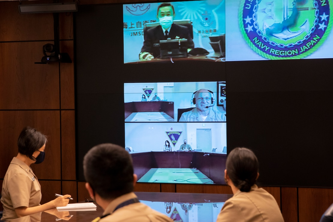Chief of Naval Operations (CNO) Adm. Mike Gilday speaks with Japan Maritime Self-Defense Force Chief of Staff Adm. Hiroshi Yamamura during a video teleconference.