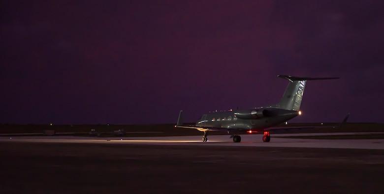 A Gulfstream III departs AAFB