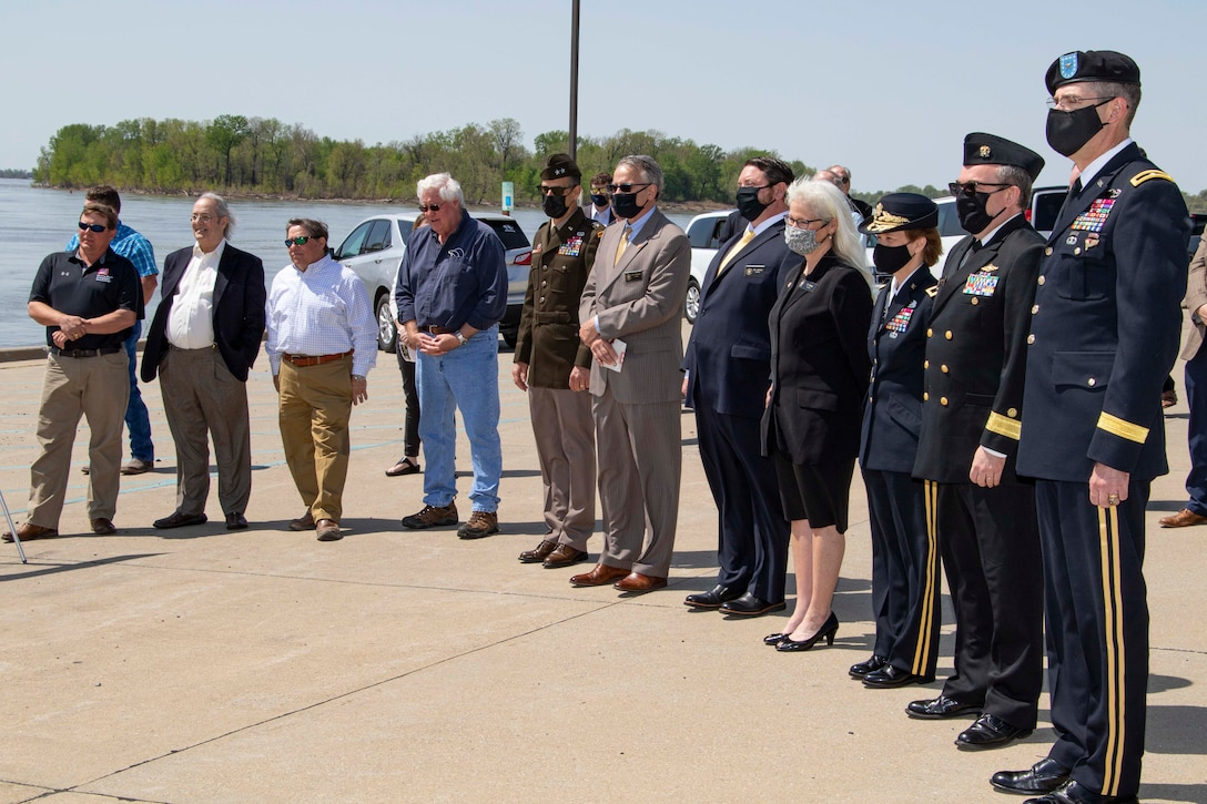 IN THE PHOTO, the Memphis District held a ribbon-cutting ceremony, to celebrate a fully functioning stormwater ditch replacement project in the New, Madrid, Missouri area, on Apr. 12, 2021. A $3.4 million contract was awarded for two work areas to Tarpan Construction LLC., on Aug. 29, 2019. (USACE photos by Vance Harris)