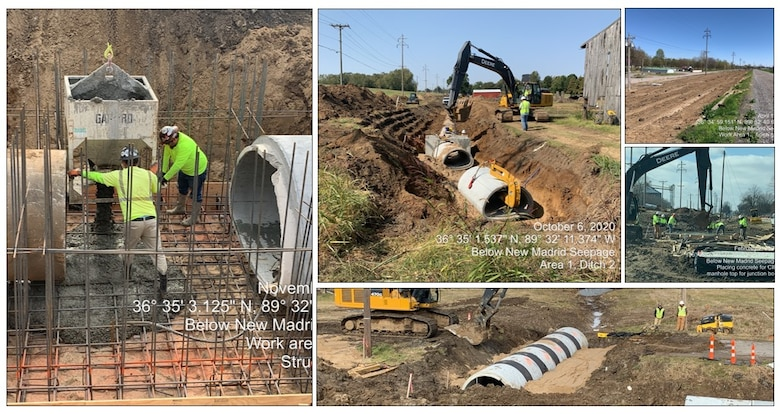 IN THE PHOTOS, photos taken while the stormwater ditch replacement project in the New, Madrid, Missouri area was in progress. A $3.4 million contract was awarded for two work areas to Tarpan Construction LLC., on Aug. 29, 2019. The project is currently fully functional, only needing rip rap placement and turfing to consider the project done in its entirety. (Courtesy photos)