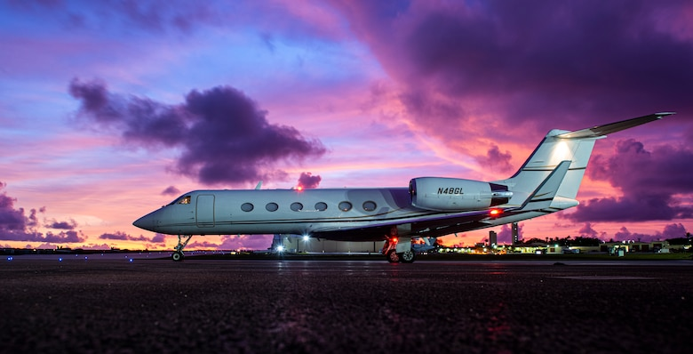A Gulfstream IV prepares to depart AAFB
