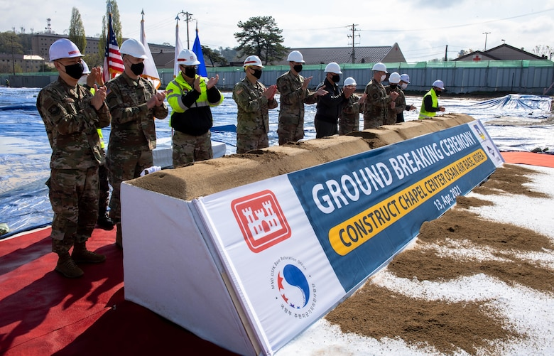 The building site is being prepared by the 51st Civil Engineer Squadron for Air National Guard units to begin construction on the new chapel.