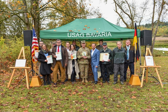 "Members of a nature-preservation project received the U.N. ""Decade on Biodiversity"" award at the Grafenwoehr Training Area, Germany, Oct. 19, 2019."