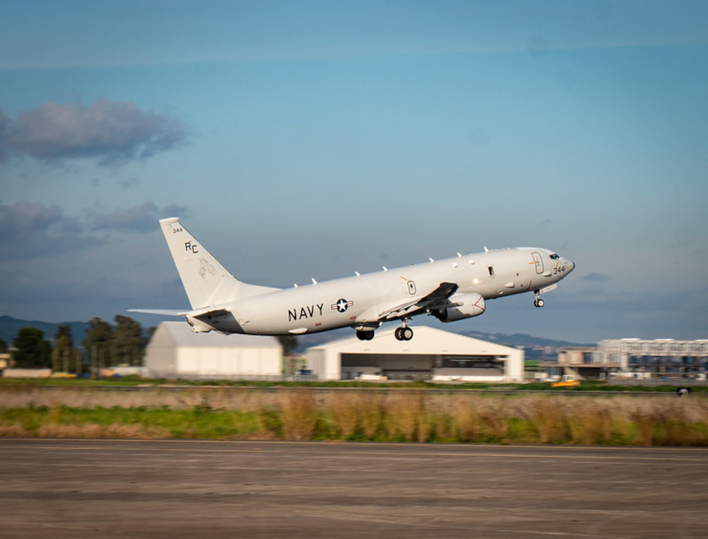 "210128-N-VH871-1159 NAVAL AIR STATION SIGONELLA, Italy (Jan. 28, 2021) A P-8A Poseidon maritime patrol aircraft, assigned to the ""Grey Knights"" of Patrol Squadron (VP) 46, takes off to conduct its mission, Jan. 28, 2021. VP-46 is currently forward-deployed to the U.S. Sixth Fleet area of operations and is assigned to Commander, Task Force 67, responsible for tactical control of deployed maritime patrol and reconnaissance squadrons throughout Europe and Africa. U.S. Sixth Fleet, headquartered in Naples, Italy, conducts a full spectrum of joint and naval operations, often in concert with allied and interagency partners, in order to advance U.S. national security interests and stability in Europe and Africa. (U.S. Navy photo by Mass Communication Specialist 2nd Class Austin Ingram/ Released)"