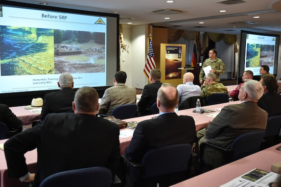7ATC Chief of Staff U.S. Army Col. William Lindner (standing) briefs the attendees of the U.S. Army Europe's Sustainable Range Program (SRP) Workshop at Tower Barracks, Grafenwoehr, Germany, April 18, 2016.
