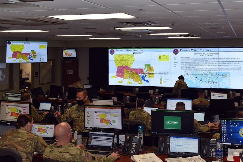 The Louisiana National Guard partners with local and state agencies during an annual disaster response exercise at the Governor's Office of Homeland Security and Emergency Response in Baton Rouge, Louisiana, April 8, 2021.