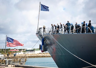 USS Arleigh Burke (DDG 51) arrives at Naval Station Rota, Spain.