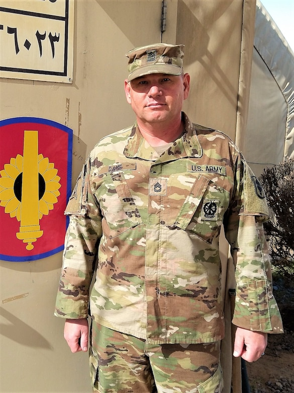 Sgt. 1st Class Christopher Dame serves as the ammo NCO for the 130th Field Artillery Brigade