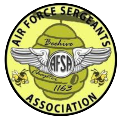 The AFSA Chapter 1163 featuring AFSA wings and a beehive.