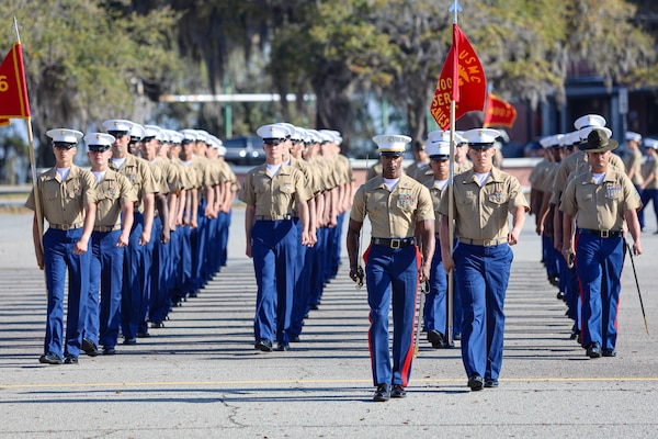 U.S. Marines with Papa Company, 4th Recruit Training Battalion, graduate recruit training aboard Marine Corps Recruit Depot Parris Island S.C., Mar. 26 2021. Upon graduation the Marines will go to the School of Infantry. (U.S. Marine Corps photo by Lance Cpl. Samuel C. Fletcher)