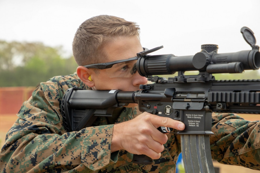A U.S. Marine participates for the first time in the Marine Corps Marksmanship Championship, at MCB Quantico, day two of the competition, April 13.