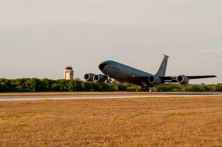 A KC-135 Stratotanker aircraft takes off from MacDill Air Force Base, Fla., April 9, 2021. The aircraft was carrying cargo and Airmen from MacDill AFB to their deployed location at Al Udeid Air Base, Qatar. (U.S. Air Force photo by Airman 1st Class David D. McLoney)