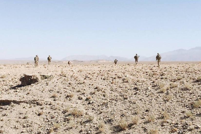 Soldiers patrol in Afghanistan.