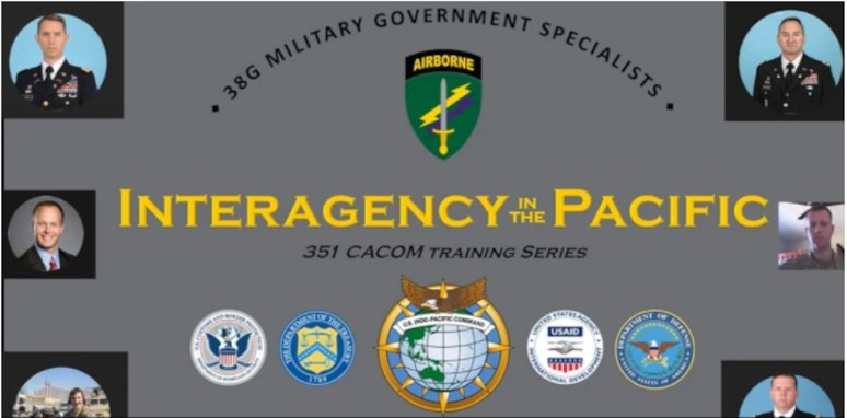 Civil Affairs Soldiers from across the U.S. participated in the 'Interagency in the Pacific' virtual training conducted on March 20, 2021. The training provided an understanding of how working together with U.S. government agencies can assist CA Soldiers in successfully accomplishing a mission by knowing the agencies within a government and what their roles are.