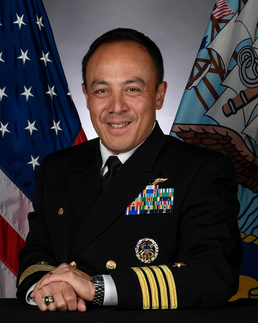 Official biography photo of Captain Fred Goldhammer, Commanding Officer, USS Ronald Reagan (CVN 76).