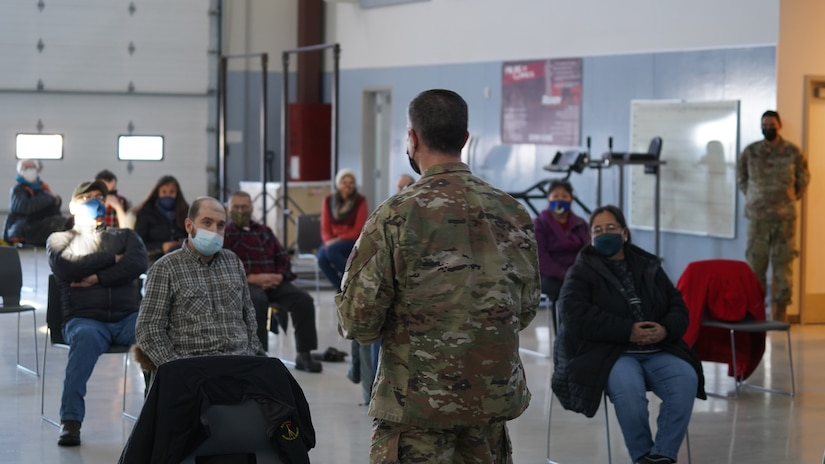 Maj. Gen. Torrence Saxe, commissioner for the Department of Military and Veterans Affairs and adjutant general of the Alaska National Guard, speaks to Western Alaska community members during a townhall held at the Bethel Readiness Center in Bethel, Alaska, April 8, 2021. Members of the Alaska Department of Military and Veterans Affairs, the Department of Environmental Conservation, and the Department of Commerce, Community, and Economic Development traveled to Western Alaska April 7-9 to meet with Tribal leaders and citizens in Bethel, Tuluksak, and Chevak to discuss disaster assistance measures and processes in light of recent emergencies that have occurred in the region, and in preparation for the upcoming flood season. (U.S. Army National Guard photo by Dana Rosso)