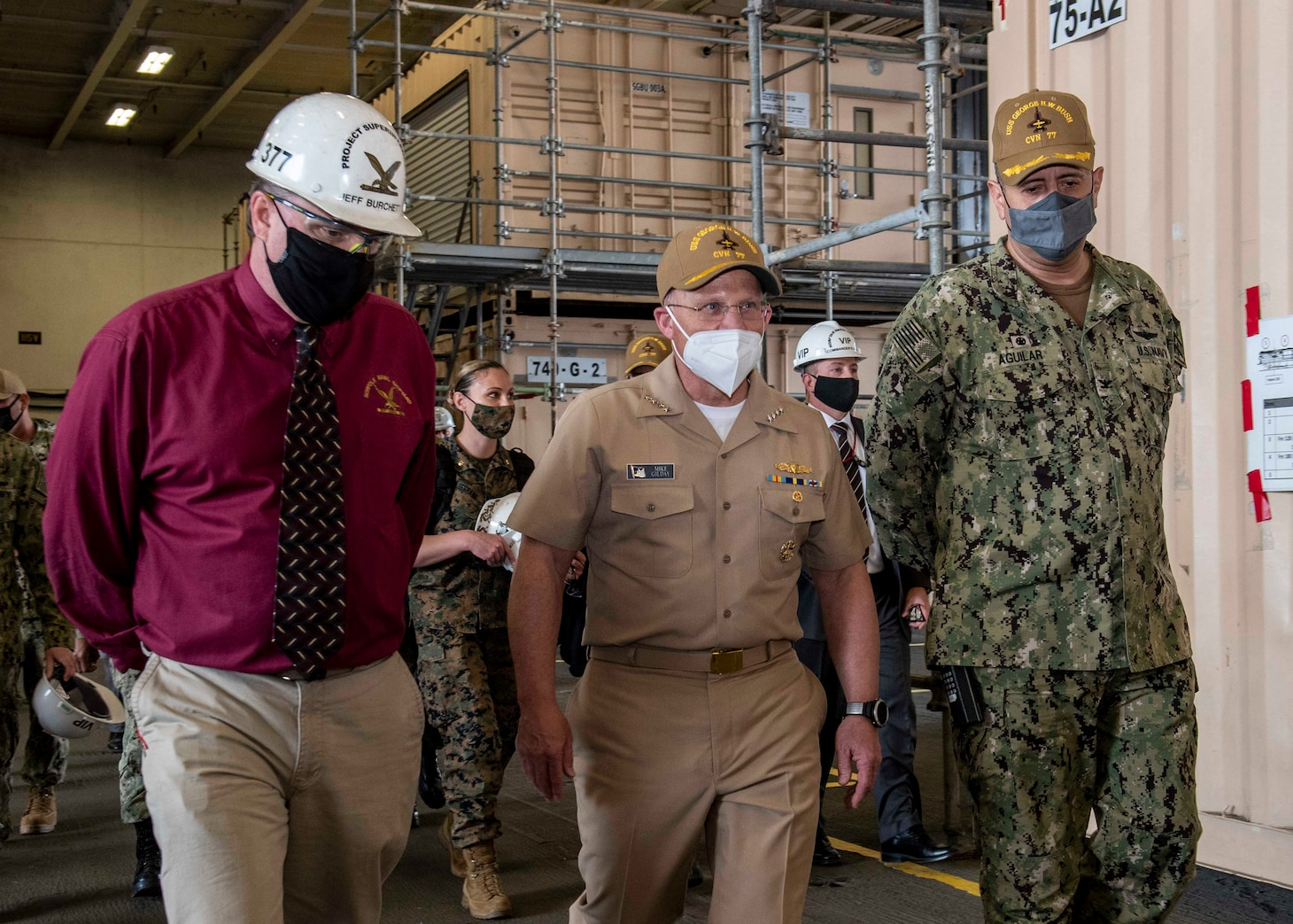 PORTSMOUTH, Va. (Apr 13, 2021) Admiral Mike Gilday, Chief of Naval Operations visits the aircraft carrier USS George H. W. Bush (CVN 77) as a part of his list to Norfolk Naval Shipyard. GHWB is currently in Norfolk Naval Shipyard for its Docking Planned Incremental Availability. (U.S. Navy photo by Mass Communication Specialist 3rd Class Ryan Pitt)