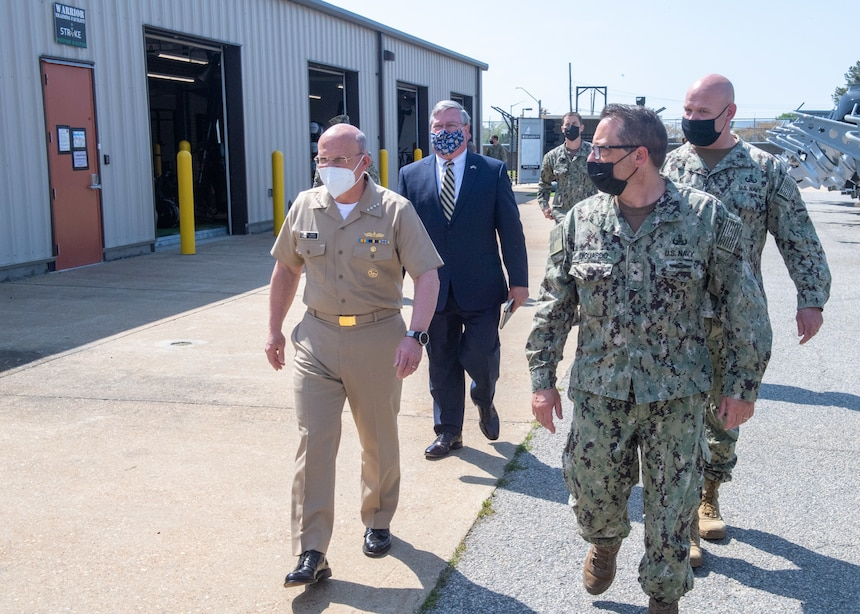 VIRGINIA BEACH, Va (April 14, 2021) – Chief of Naval Operations Mike Gilday tours Explosive Ordnance Disposal Group (EODGRU) Two STRIKE facility onboard Joint Expeditionary Base Little Creek, April 14, 2021. Gilday and Master Chief Petty Officer of the Navy Russel Smith toured the EODGRU 2 STRIKE facility and met with EOD operators and Navy divers to discuss capabilities and equipment employed by the force. EOD STRIKE protects individuals and teams in the EOD Force from debilitating stress through adaptability, recovery and growth across the personal, social, cognitive and physical wellness domains. (U.S. Navy photo by Mass Communication Specialist Seaman Apprentice Nicholas Skyles)