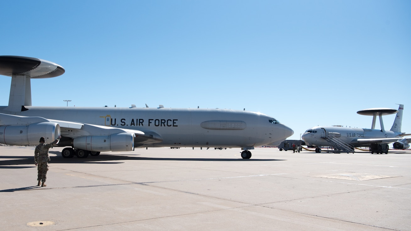 Two AWACS planes on ramp