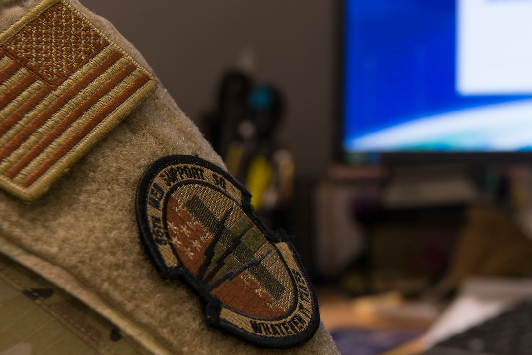 An 86th Medical Support Squadron patch sits on the uniform of U.S. Air Force Tech. Sgt. Kaci Stephens, 86th MDSS medical information services flight client support noncommissioned officer in charge, at Ramstein Air Base, Germany, April 6, 2021.