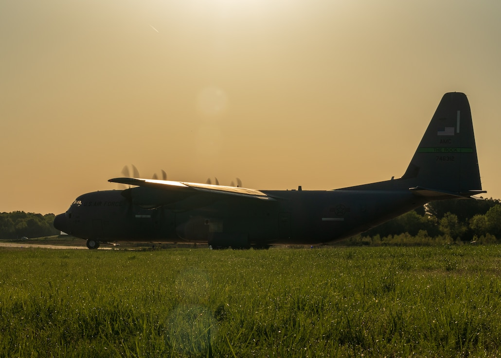 A U.S. Air Force C-130J Super Hercules lines up on the taxi way as part of an 11-ship formation from Little Rock Air Force Base, Ark., April 15. 2021. The elephant walk quickly launched combat airlift to support an U.S. Army Joint Readiness Training event. (U.S. Air Force photo by Maj. Ashley Walker)