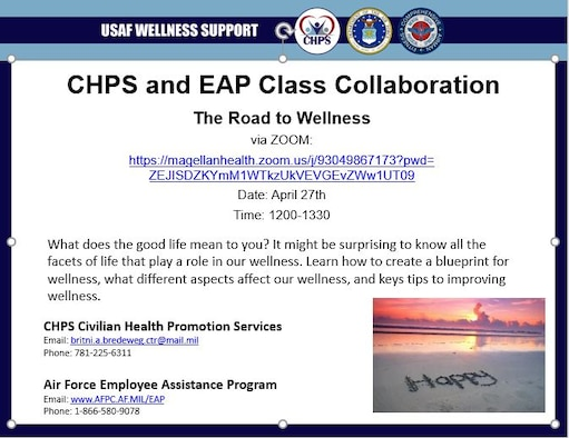 The Civilian Health Promotion Services and Employee Assistance Program's from Hanscom Air Force Base, Mass., will host a joint wellness course via Zoom April 27. The collaborative presentation will explore how physical and mental health contribute to overall wellness. (Graphic courtesy of Hanscom Civilian Health Promotions Service )