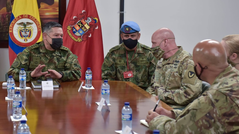 Maj. Gen. Carlos Moreno, left, the vice commander for the Colombian Army, briefs Brig. Gen. Douglas Lowrey, commander of U.S. Army Security Assistance Command, during a key leader engagement at a Colombian Army base in Bogota, Colombia, April 5, 2021. Lowrey, and staff, visited several sites to see the impact of U.S. security assistance and foreign military sales, in support of the Colombian military in defending their country from counter-narcotic and terrorist threats.